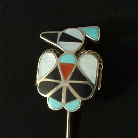 Vintage Native American STERLING Thunderbird ZUNI Pin Mosaic - Years After