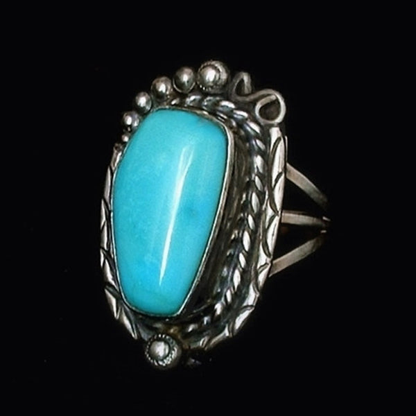 Vintage NATIVE American Sleeping Beauty TURQUOISE Ring Sterling Signed c.1970s - Years After