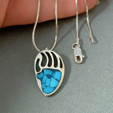 Vintage Native American Sterling NAVAJO Turquoise Pendant CHAIN - Years After