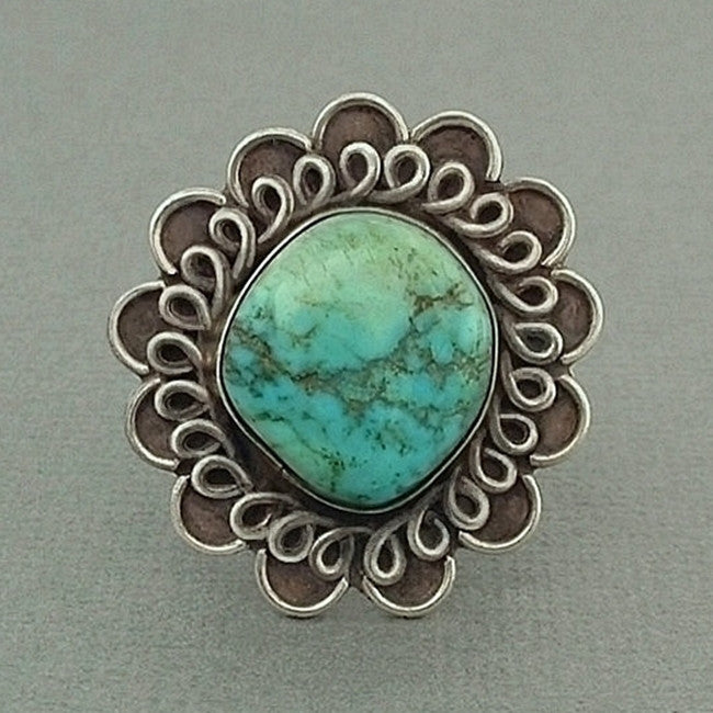 ADAKAI Old PAWN Native American Turquoise RING Navajo Sterling Signed - Years After