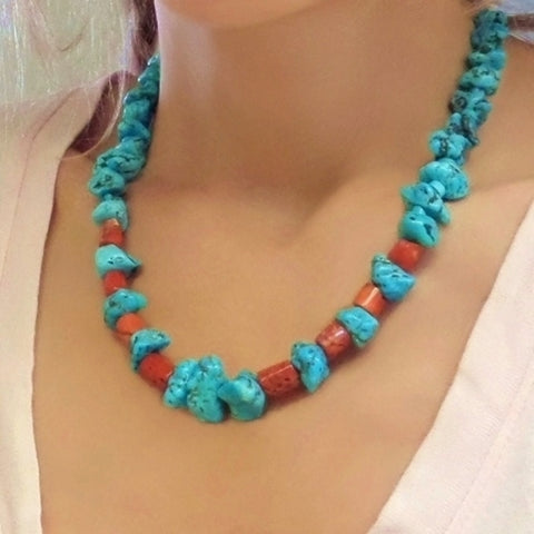 Old Pawn Vintage NATIVE American Turquoise NECKLACE Navajo Red Coral - Years After
