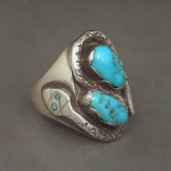 VICTOR CHAVEZ Men's Vintage Navajo Turquoise RING Snake Sterling Signed c.1980's - Years After