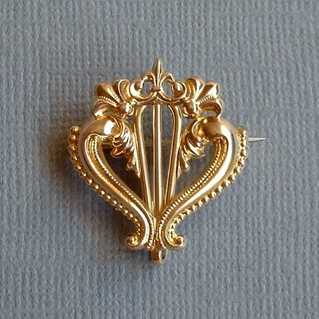 Fleur de Lis Antique WATCH PIN Chatelaine Brooch Gold Filled Scrollwork SIGNED c.1890s - Years After - 1