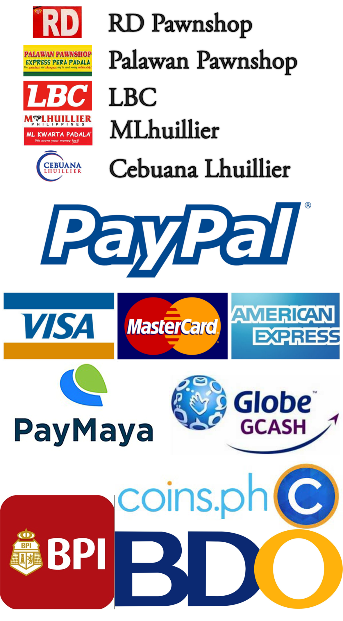 Payments accepted by Optimatic Technology and Gadgets