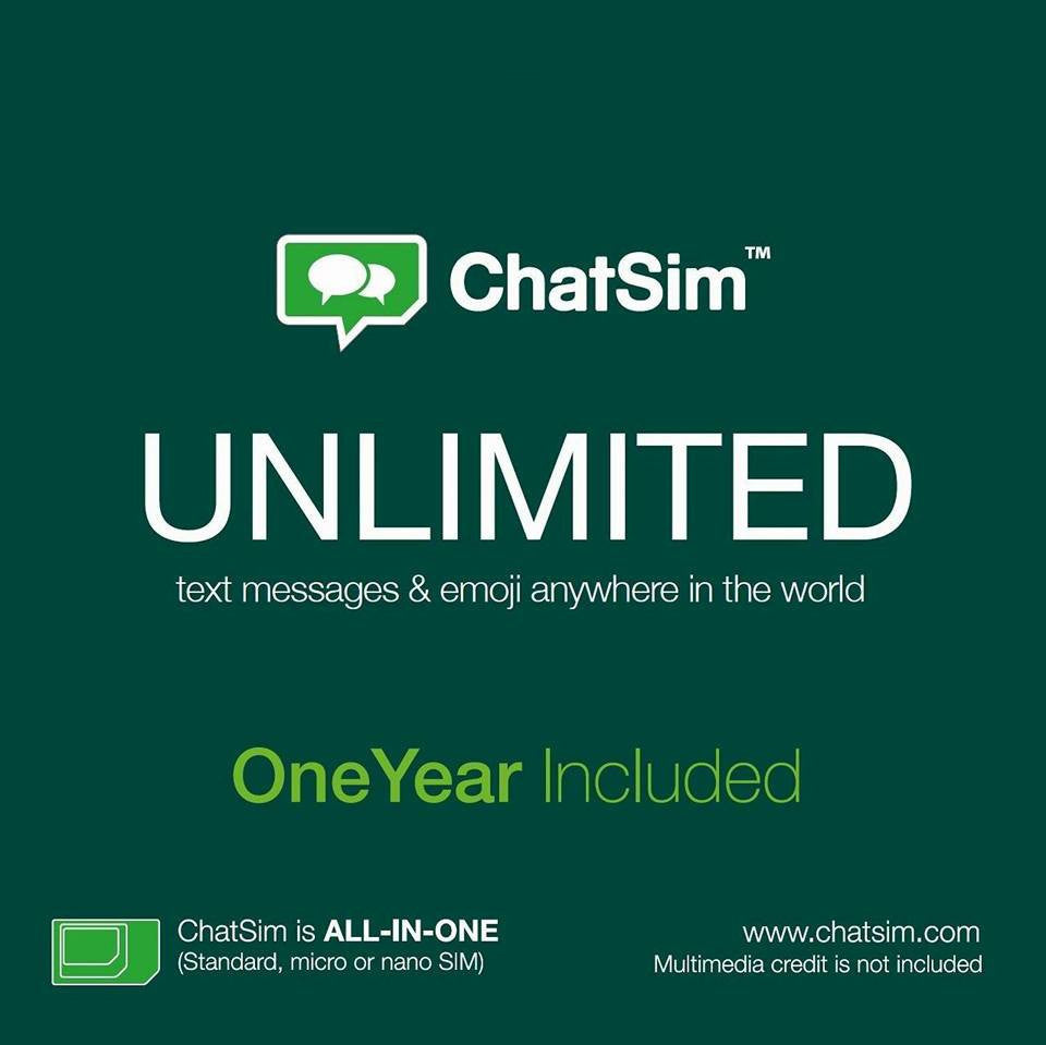 Chatsim Unlimited SIM for one year unlimited chatting worldwide