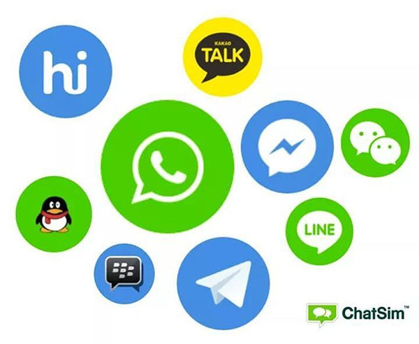 The most popular apps is usable with Chatsim Unlimited. Facebook messenger, whatsapp, wechat, line, BBM, Kakaotalk, Telegram, Hike, etc.