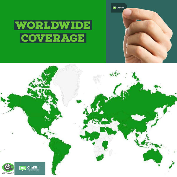 Chatsim Unlimited has worldwide coverage. Now in 165 countries and counting!