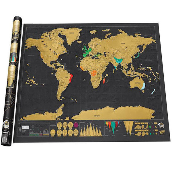 Mini Black Deluxe Travel Scrape World Map Poster Traveler Vacation Log Gift Personalized Travel Vacation Map 82.5 x 59.5 cm