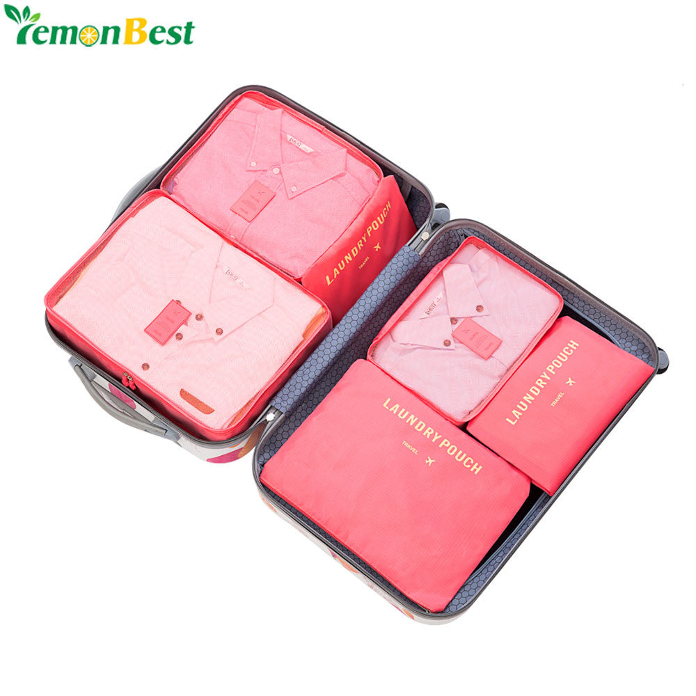 6Pcs/Set Portable Travel Cosmetics Clothes Storage Bag Set Waterproof Makeup Luggage Organizer Bag Household Tidy Laundry Pouch