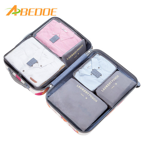 ABEDOE 6Pcs/Set Waterproof Travel Clothes Storage Bags for Women Makeup Heart Polyester Travelling Organizer Bath Wash Makup Box