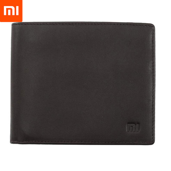 New Original Smart Xiaomi Wallet Genuine Leather Black Purse Man Stylish Business Cowhide Double Fold Standard Wallets Holder Mi