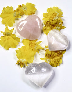 Heart Shaped Stones | Rose Quartz + Selenite