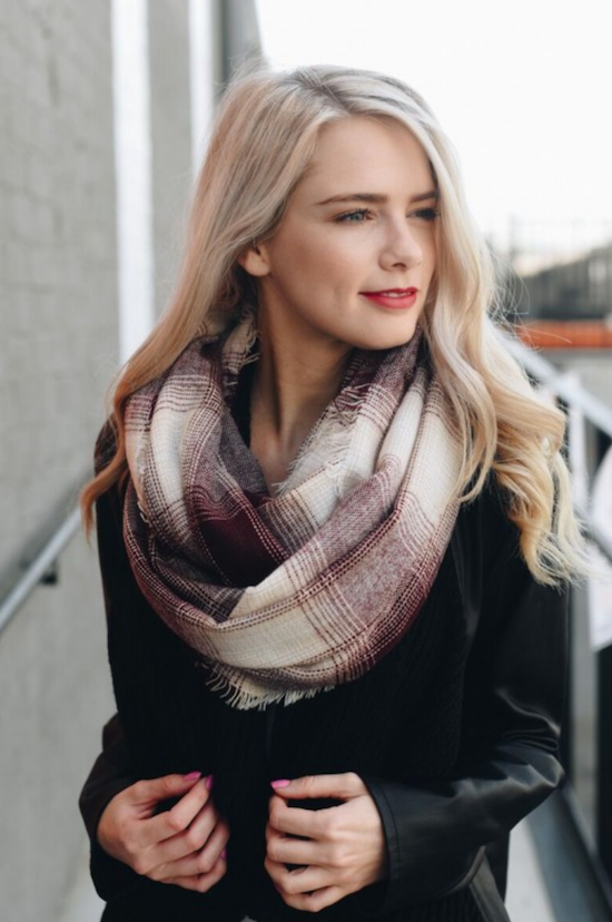 Plaid Infinity Scarf - Burgundy