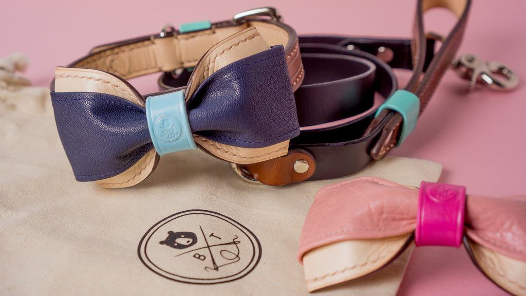 Bearytail Leather Co. Leather Dog Bowties and Leads and Collars