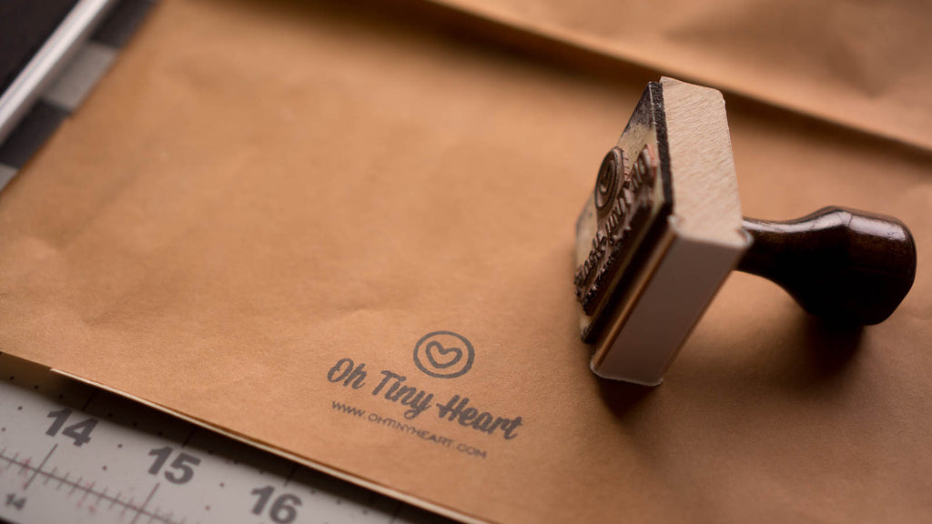 Oh Tiny Heart stamps and tissue paper packaging