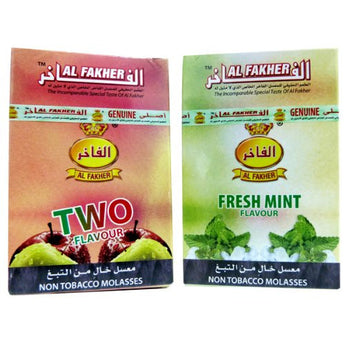 AL Fakher Herbal Shisha 2 Flavors Deal FRESH MINT and DOUBLE APPLE - Aradina Middle Easter and Mediterranean Foods