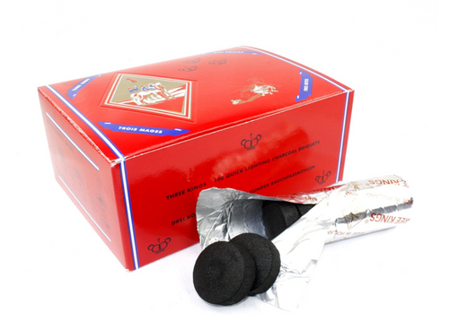 Three Kings Hookah Charcoals 33mm - 1 Box (100 Pieces)