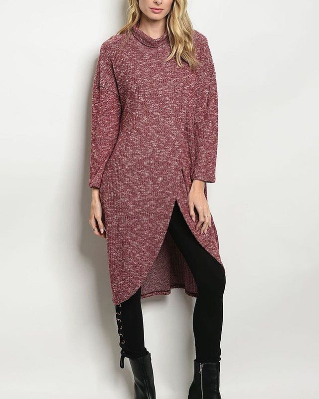 Long Sleeve Burgundy Sweater Tunic⠀ Tap...