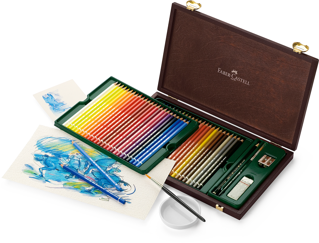 48 Watercolour Pencil Set in Wooden Case (inc. Eraser, Sharpener and Watercolour Brush)