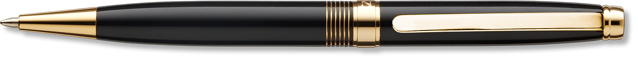 Optima Concord Black Lacquer Ballpoint with Gold Trim