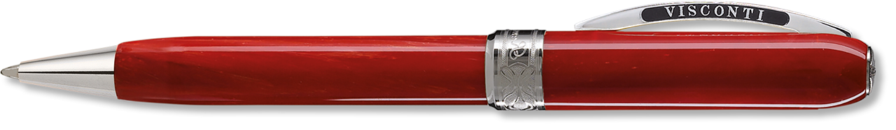 Red Varigrated Resin Ballpoint with Platinum Trim