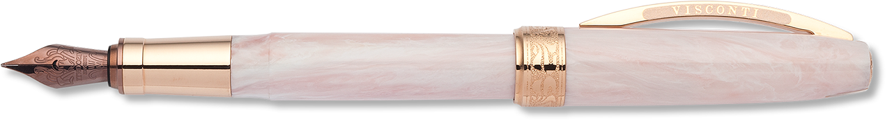 Rose Pink Marbleised Resin Fountain Pen with Rose Gold Trim