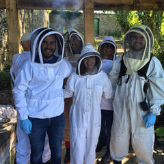 The film crew all kitted out in bee suits for filming of Escape to the Country
