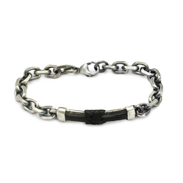 Dark sophisticated urban chic silver leather bracelet annika heavyweight mens silver chain leather bracelet jewellery mozeypictures Image collections
