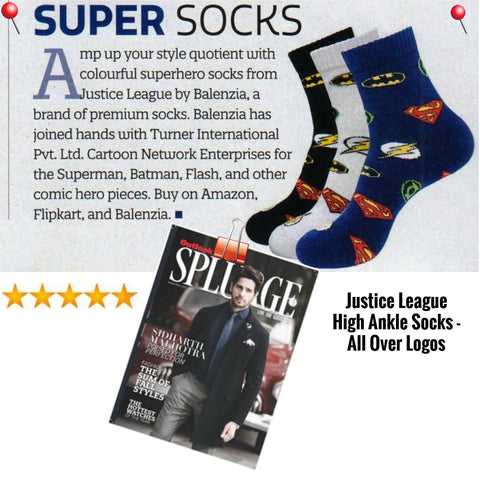 Justice League Men High Ankle Socks Featured in Outlook Splurge