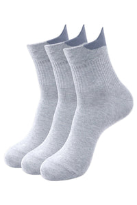 Balenzia Men's Cotton Solid High Ankle Socks Free Size, Pack of 3 (L.Grey)-Sports Socks/Gym Socks - Balenzia