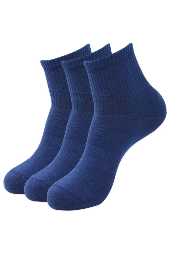 Balenzia Men's Full Cushioned Terry/Towel Ankle Sports Socks, Gym Socks- Navy (Pack of 3) - Balenzia
