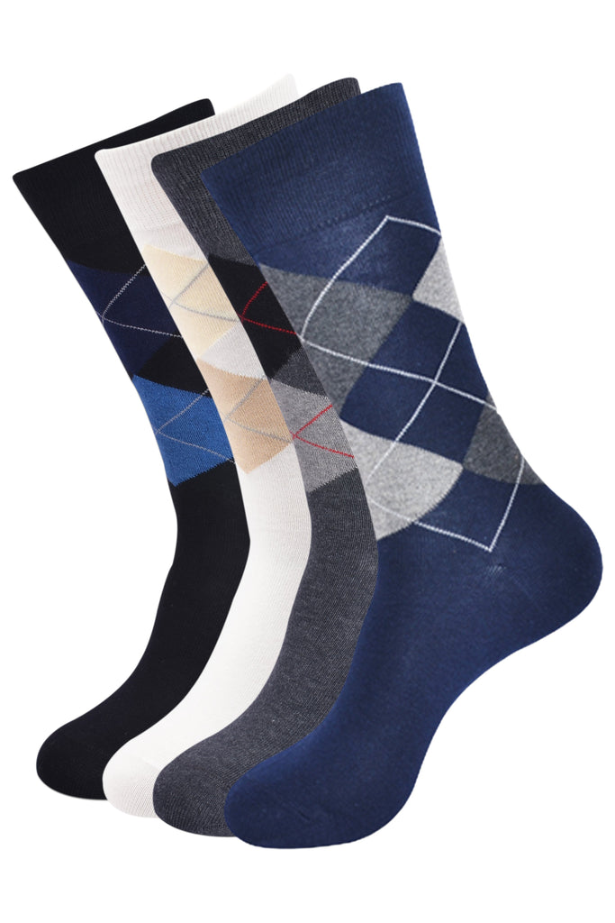 Balenzia Men's Classic Argyle Socks- Pack of 4 ( Multicoloured) - Balenzia