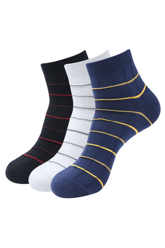Balenzia Men's Striped Cotton Ankle Socks-3 Pair Pack-(Black,White,Navy) - Balenzia