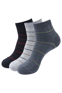 Balenzia Men's Striped Cotton Ankle Socks-3 Pair Pack-(Black,L.Grey,D.Grey) - Balenzia