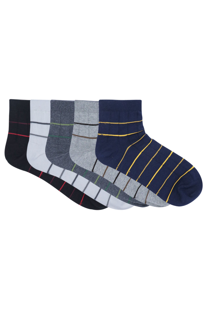 Balenzia Men's Striped Cotton Ankle Socks-5 Pair Pack- (Black,Navy,D.Grey,L.Grey,White) - Balenzia