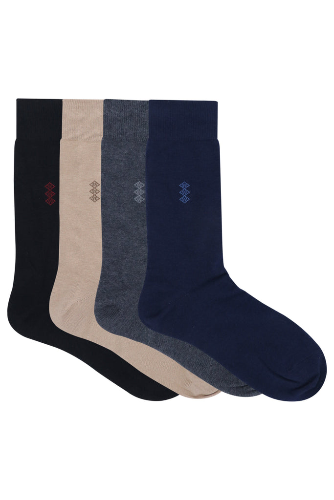 Balenzia Men's Motif Cotton Crew Socks- Pack of 4 (Black,Beige,Navy,D.Grey) - Balenzia