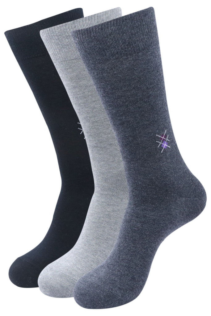 Balenzia Men's Motif Cotton Crew/Calf length Socks- Pack of 3 (Black,L.Grey,D.Grey) - Balenzia