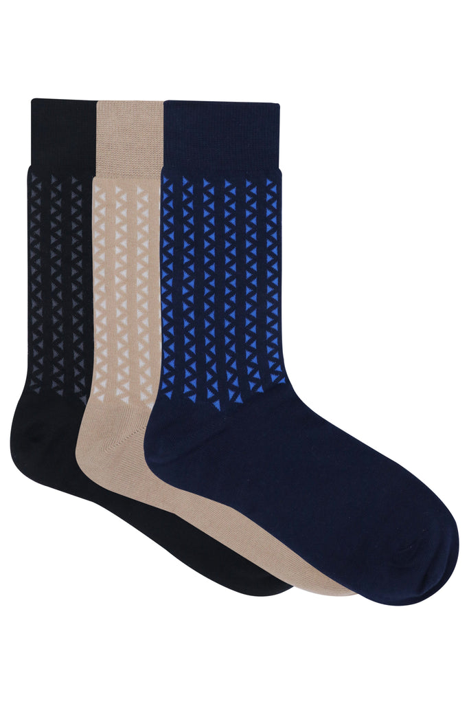Balenzia Men's Cotton Crew/ Calf length socks-Pack of 3 (Black,Beige,Navy) - Balenzia