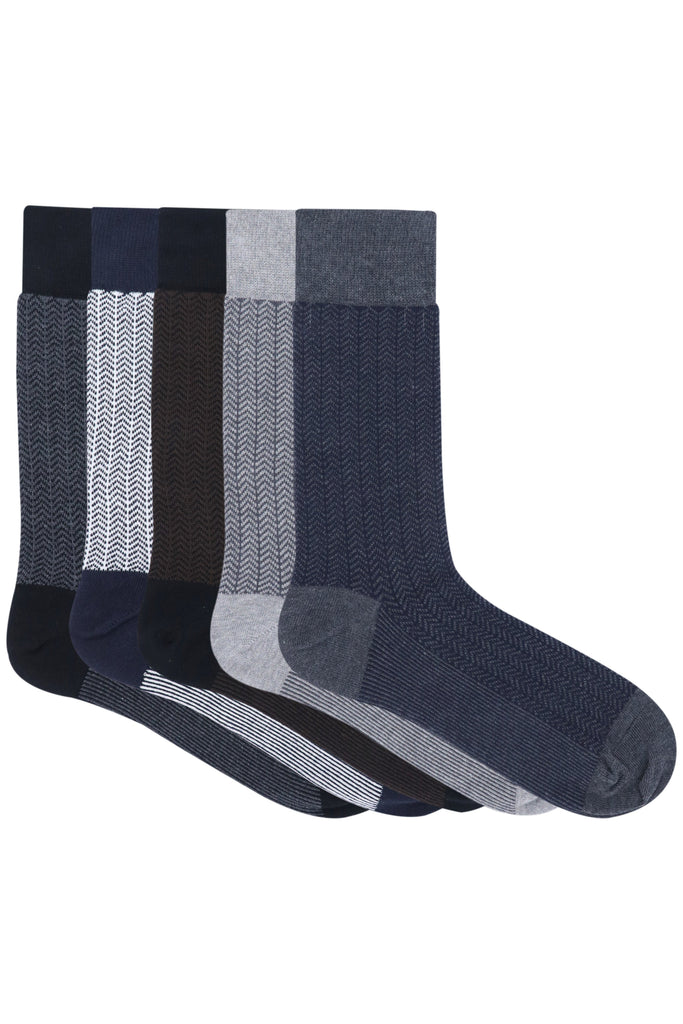 Balenzia Men's Zig Zag Patterned Cotton Crew length socks- Pack of 5 (Black,Navy,Brown,L.Grey,D.Grey) - Balenzia