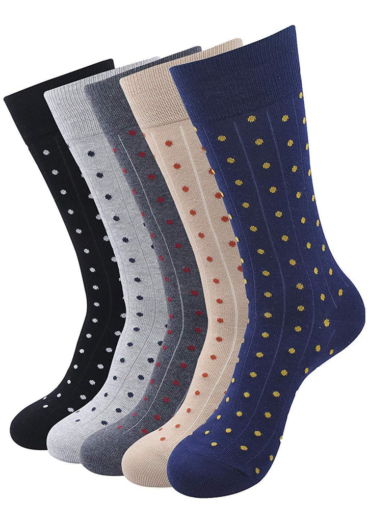 Balenzia Men's Polka Pattern Cotton Calf length socks- Pack of 5 (Black,L.Grey,D.Grey,Beige,Navy) - Balenzia