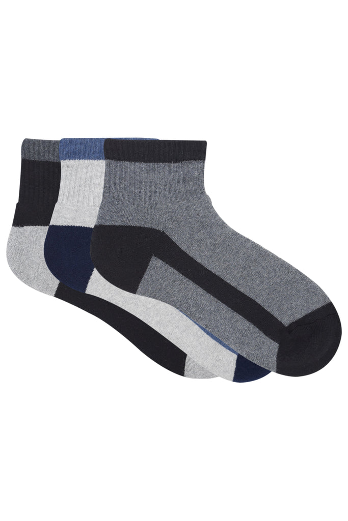 Balenzia Men Cushioned High Ankle socks - Dark Grey, Light Grey,Black -Pack of 3- Sports Socks - Balenzia