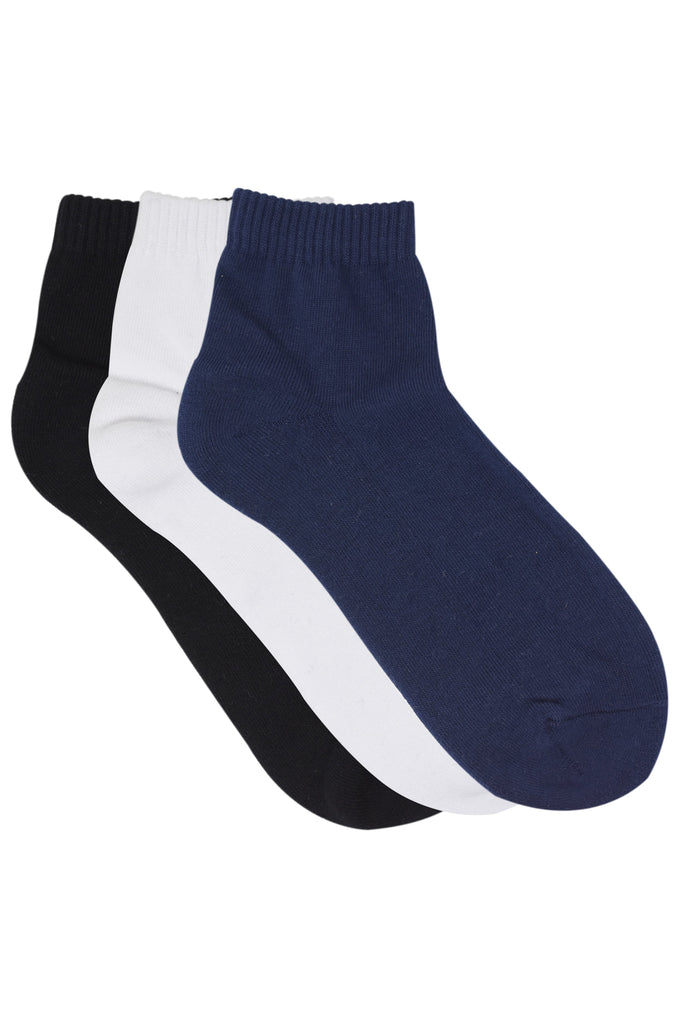 Balenzia Men's basic, half cushioned solid colour sock- Navy, Black, White -Pack of 3 - Balenzia