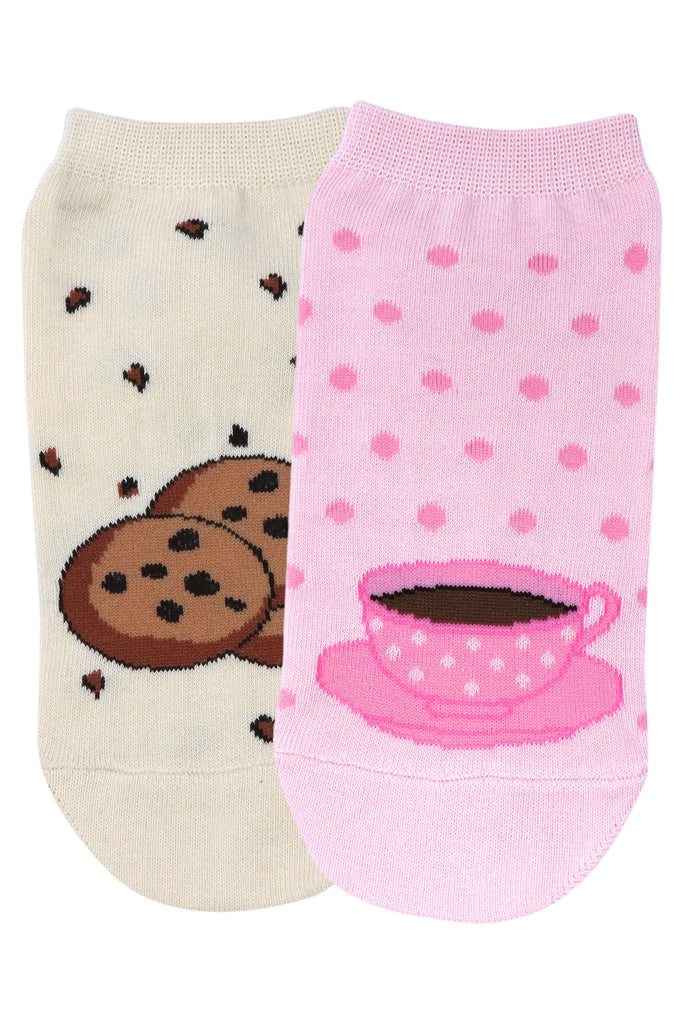 Balenzia Special Edition Lowcut socks for women - Cookie & Tea Cup - Balenzia