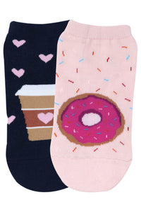 Balenzia Special Edition Lowcut socks for women - Donut & Coffee - Balenzia