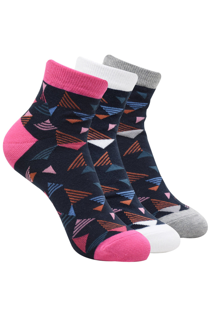 Balenzia Women's geometric print cotton sock- Pink, Grey, White -Pack of 3 - Balenzia