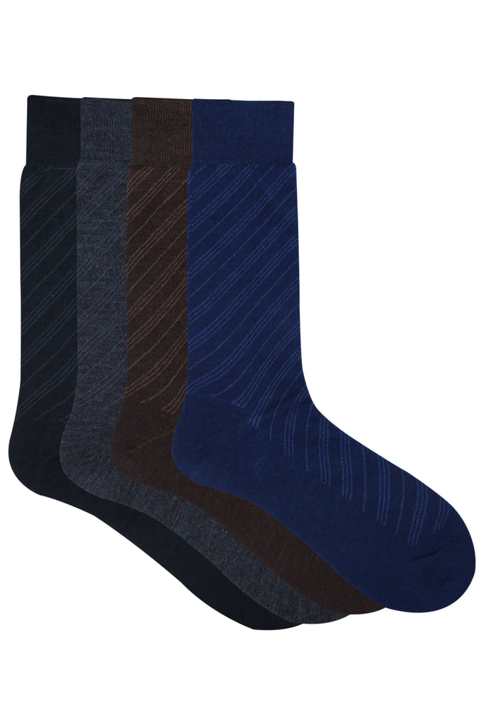 Balenzia Men's Woollen Diagonal Stripes design Crew Socks - Black, Navy, D.Grey,Brown-Pack of 4 - Balenzia