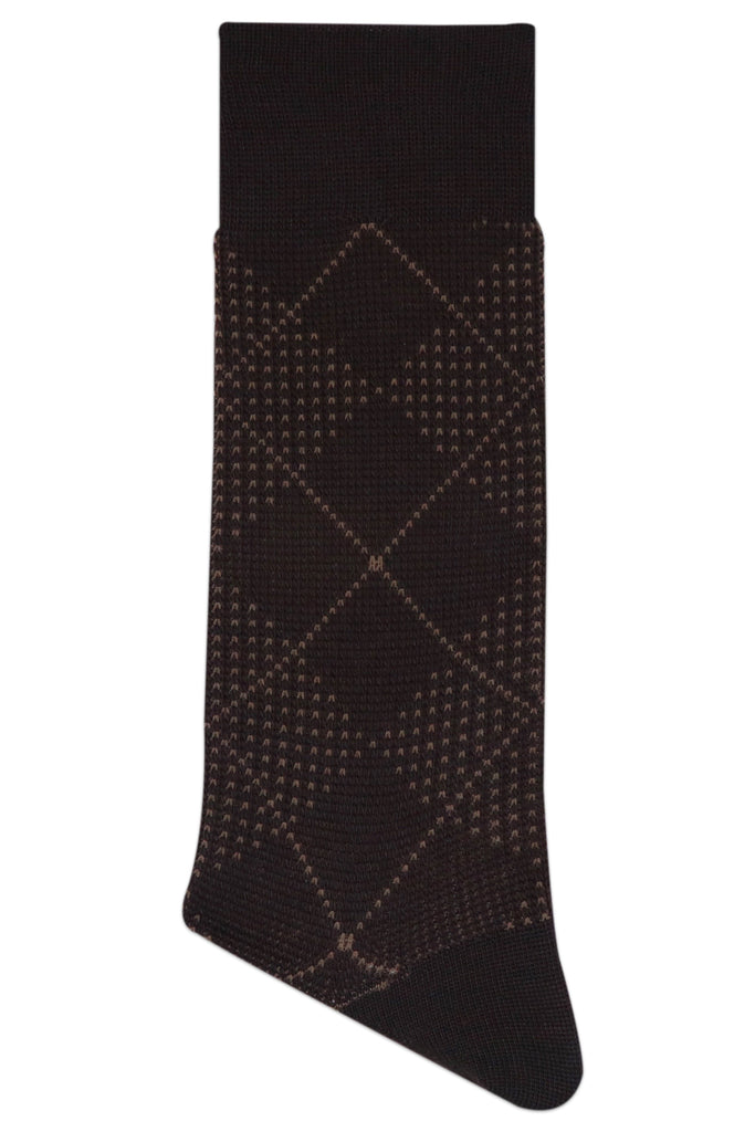 Balenzia Men's Woollen Argyle design crew Socks - Black,Brown,D.Grey-Pack of 3 - Balenzia