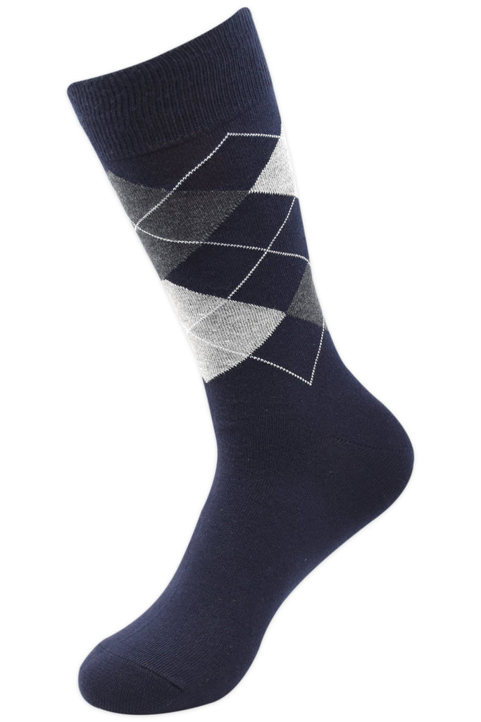 Balenzia Men's Classic Argyle Socks- Pack of 3 (Navy,White,Dark Grey) - Balenzia