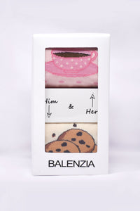 Him & Her Socks Boxset Special Edition - Cookie & Tea Cup - Balenzia