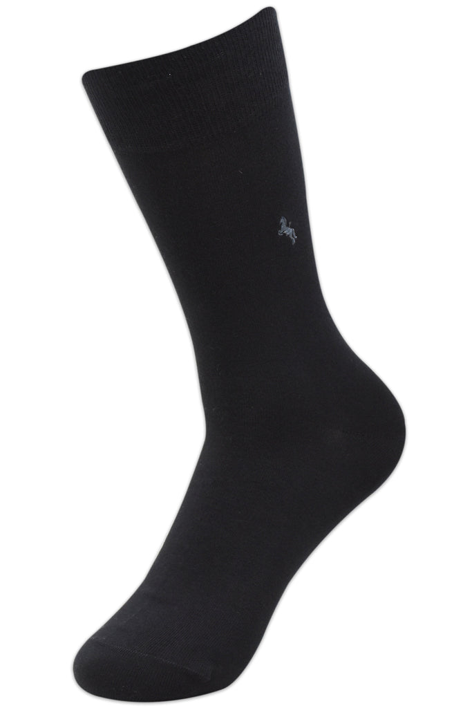 Balenzia Men's Embroidered Premium Mercerised Cotton Socks -Black, Light Grey, Navy- Pack of 3 - Balenzia